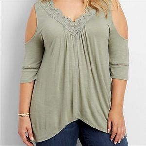 {Maurices} Sage cold shoulder top NWT
